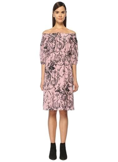 Whistles Kayık Yaka Desenli Midi Elbise Renkli